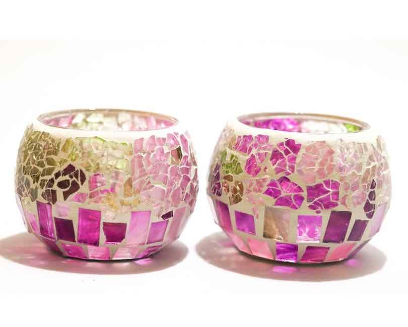 2 stk. Lysholder, mosaik glas nuancer i farverne pink , lime, lilla 7 cm. høj Ø8 cm
