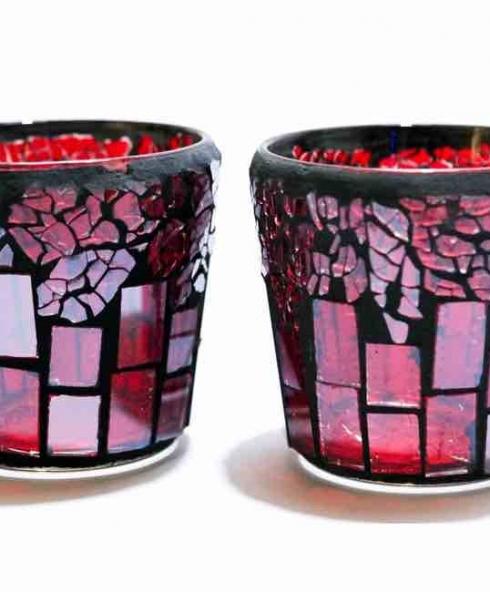 2 stk fyrfads stage mosaik glas nuancer i farverne pink og lilla. Black Bedroom Furniture Sets. Home Design Ideas