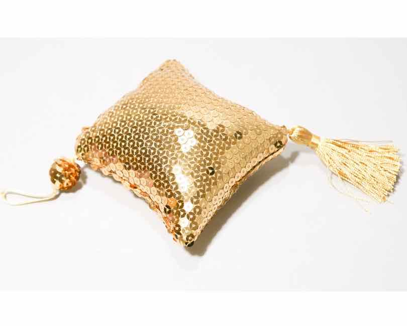 Guld palliet pude til pynt, 10x10x5 cm