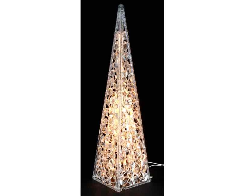 Pyramide med 50 led lys. 60 cm. Diamanter